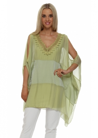 French Boutique Lime Green Silk Crochet Detail Tunic Top