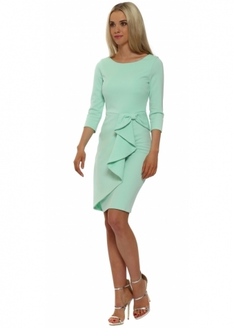 Mint Green Bow Waterfall Peplum Pencil Dress