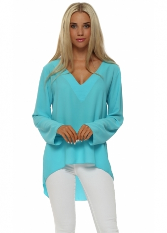 Laurie & Joe Turquoise Beaded Back Dip Hem Tunic Top