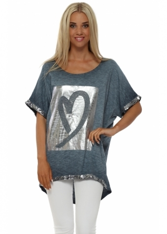 Pinka Blue Silver Foil Studded Heart Top