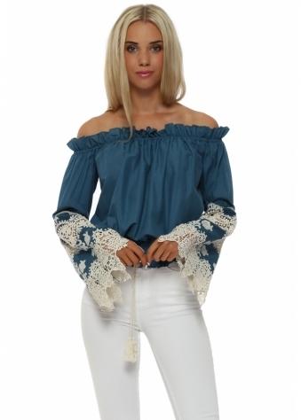 Legende By Angel Blue Crochet Lace Off The Shoulder Top