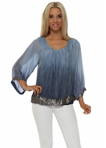 Made In Italy Blue Ombre Silk Pewter Sequinned Top