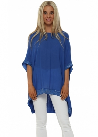 Italian Boutique Cobalt Blue Sequinned Oversized Slouch Top