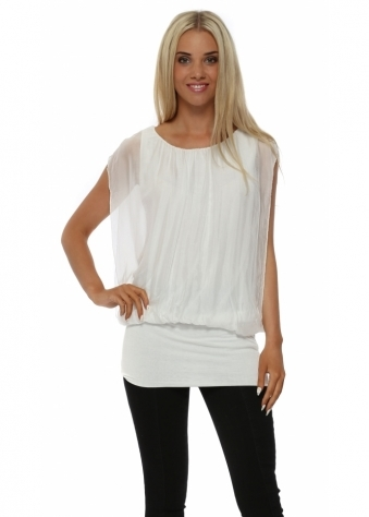 White Silk Sleeveless Tunic Top