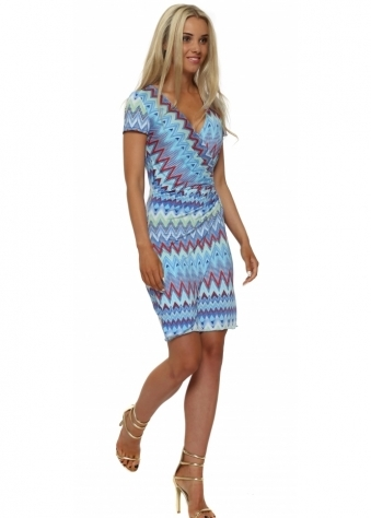 Lonkel Blue Zig Zag Short Sleeved Jersey Wrap Dress