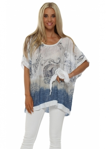 Made In Italy White Paisley Slub Knit Sequinned Top
