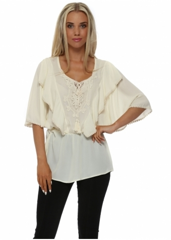 French Boutique Cream Frilly Crochet Top