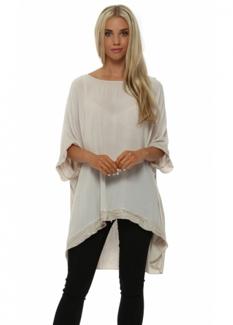 Italian Boutique Beige Sequinned Oversized Slouch Slouch Top