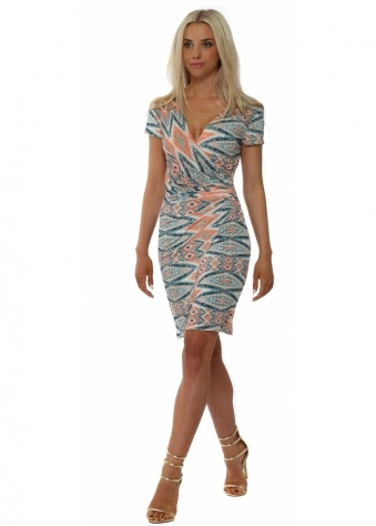 Lonkel Orange & Blue Print Short Sleeved Wrap Dress