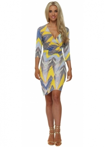 Lonkel Blue & Yellow Print Long Sleeve Wrap Dress