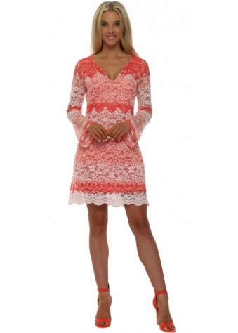 French Boutique Coral Stripe Lace Mini Shift Dress
