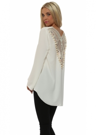 Laurie & Joe Ivory Beaded Back Dip Hem Tunic Top