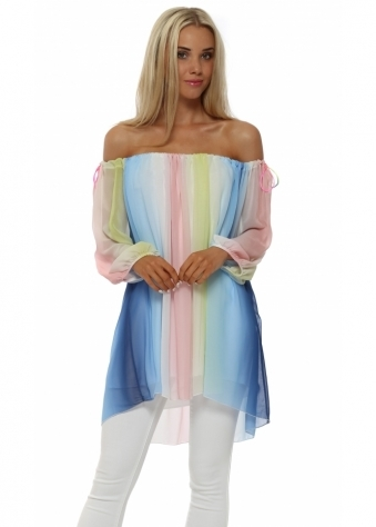 French Boutique Rainbow Chiffon Off The Shoulder Swing Top