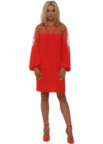 Lace Bodice Coral Crepe Shift Dress