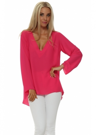 Laurie & Joe Hot Pink Beaded Mesh Back Dip Hem Tunic Top