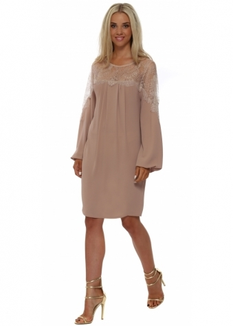 Lace Bodice Nude Crepe Shift Dress