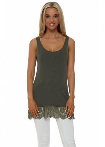 Khaki Fine Knit Lace Hem Vest Top