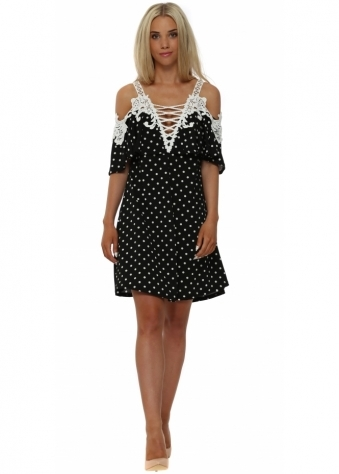 Faust Black Polka Dot Cold Shoulder Swing Dress