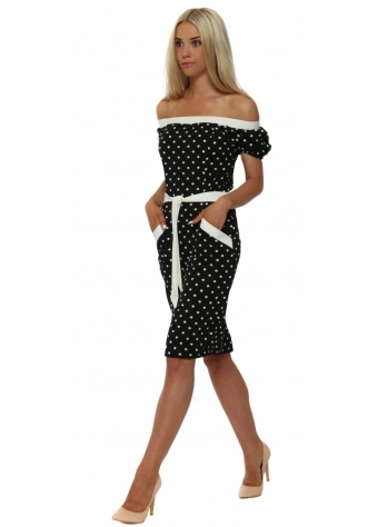 Faust Black Polka Dot Tie Waist Midi Dress