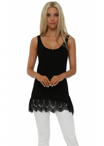 Pinka Black Fine Knit Lace Hem Vest Top