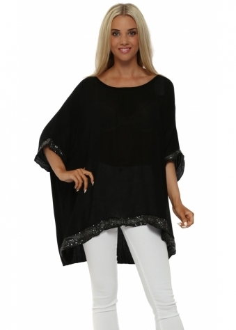 Italian Boutique Black Sequinned Oversized Slouch Top