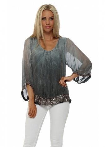 Made In Italy Grey Ombre Silk Pewter Sequinned Top