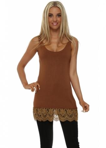 Amber Fine Knit Lace Hem Vest Top