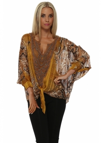 Laurie & Joe Opera Amber Snakeprint Crochet Top