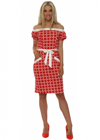 Red Circles Tie Waist Midi Dress