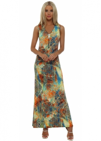 French Boutique Orange & Blue Tattoo Print Zip Neck Maxi Dress