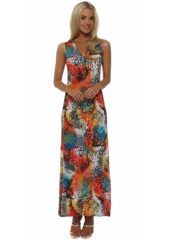 French Boutique Orange Abstract Shapes Zip Neck Maxi Dress