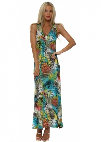 French Boutique Blue Abstract Shapes Zip Maxi Dress