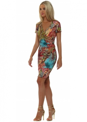 Lonkel Red Palm Print Short Sleeve Wrap Dress