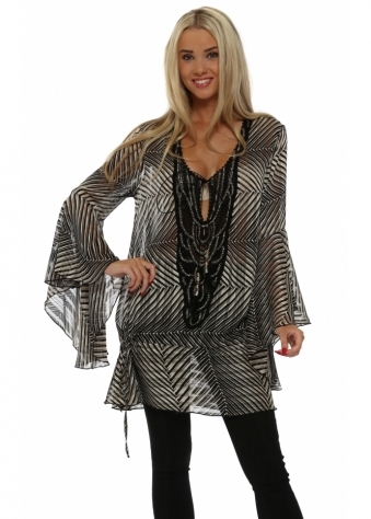 My Story Black & Cream Stripe Tunic Top