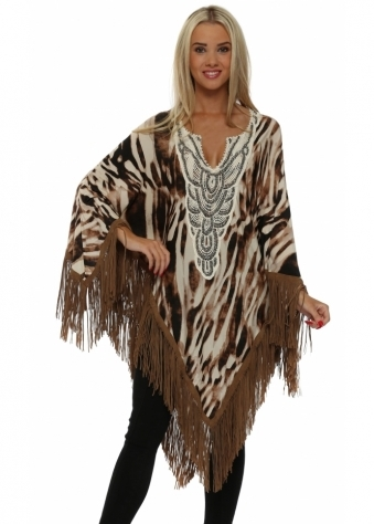 Brown Animal Print Suede Tassle Poncho