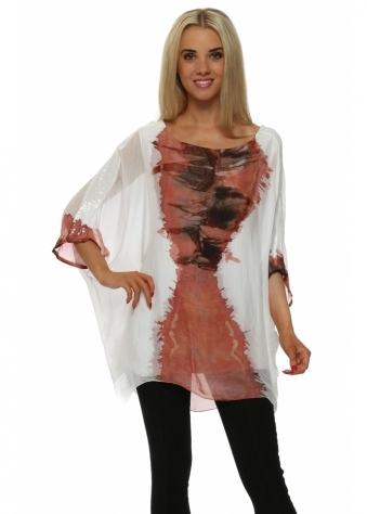 Italian Boutique Peach Watercolour Sequinned Top