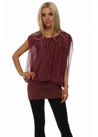 Burgundy Silk Sleeveless Tunic Top