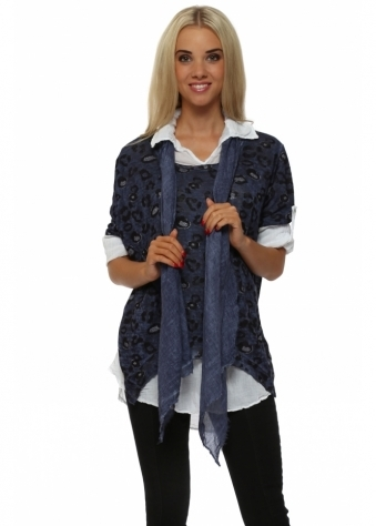 Italian Boutique Navy Leopard Print Knit Shirt Top With Scarf