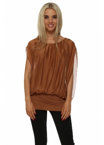Italian Boutique Rust Silk Sleeveless Tunic Top