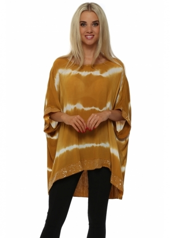Italian Boutique Amber & White Tie Dye Sequinned Top
