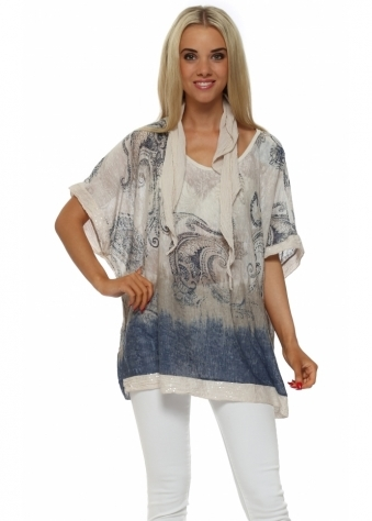 Made In Italy Beige Paisley Slub Knit Sequinned Top
