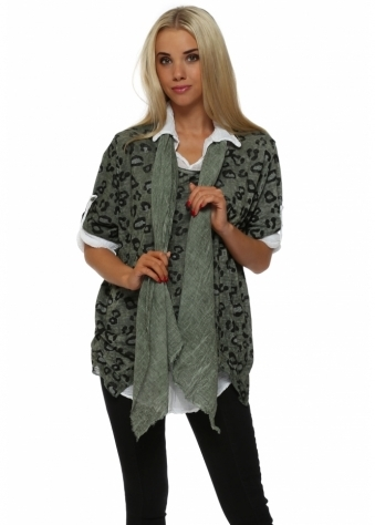 Italian Boutique Khaki Leopard Print Knit Shirt Top With Scarf