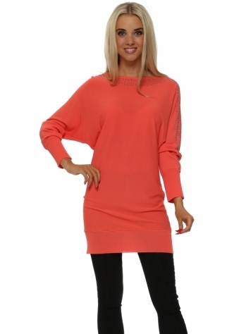 Laetitia Mem Long Coral Jumper With Studded Neck & Sleeves
