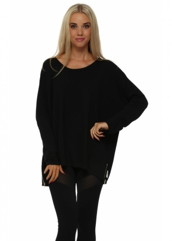 A Postcard From Brighton Maeve Gold Zip Black Jersey Top