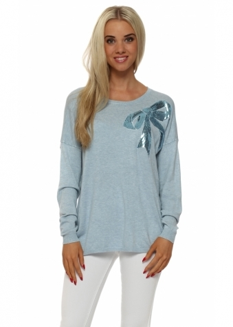 JS Millenium Light Blue Sequinned Bow Fine Knit Jumper