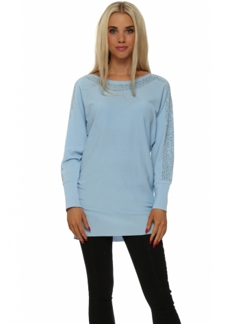 Laetitia Mem Long Blue Jumper With Studded Neck & Sleeves