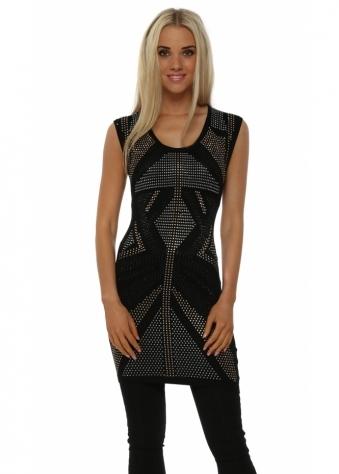 Black Studded Sleeveless Tunic Jumper