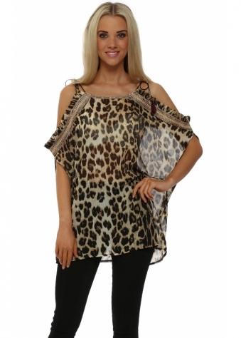 Just M Paris Leopard Print Frilled Cold Shoulder Tunic Top
