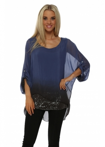 Pinka Midnight Ombre Silk Sequinned Tunic Top