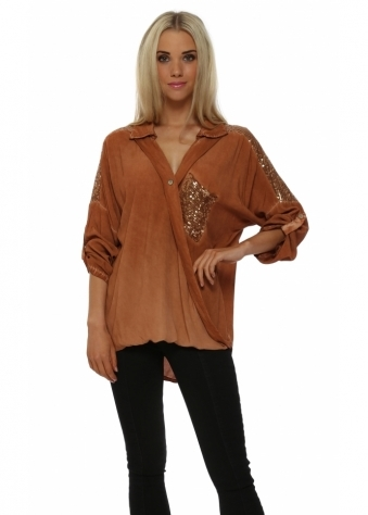 Rust Sequinned Relaxed Wrap Over Shirt